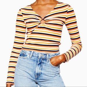 Topshop Stripe Hoop Long Sleeve Top